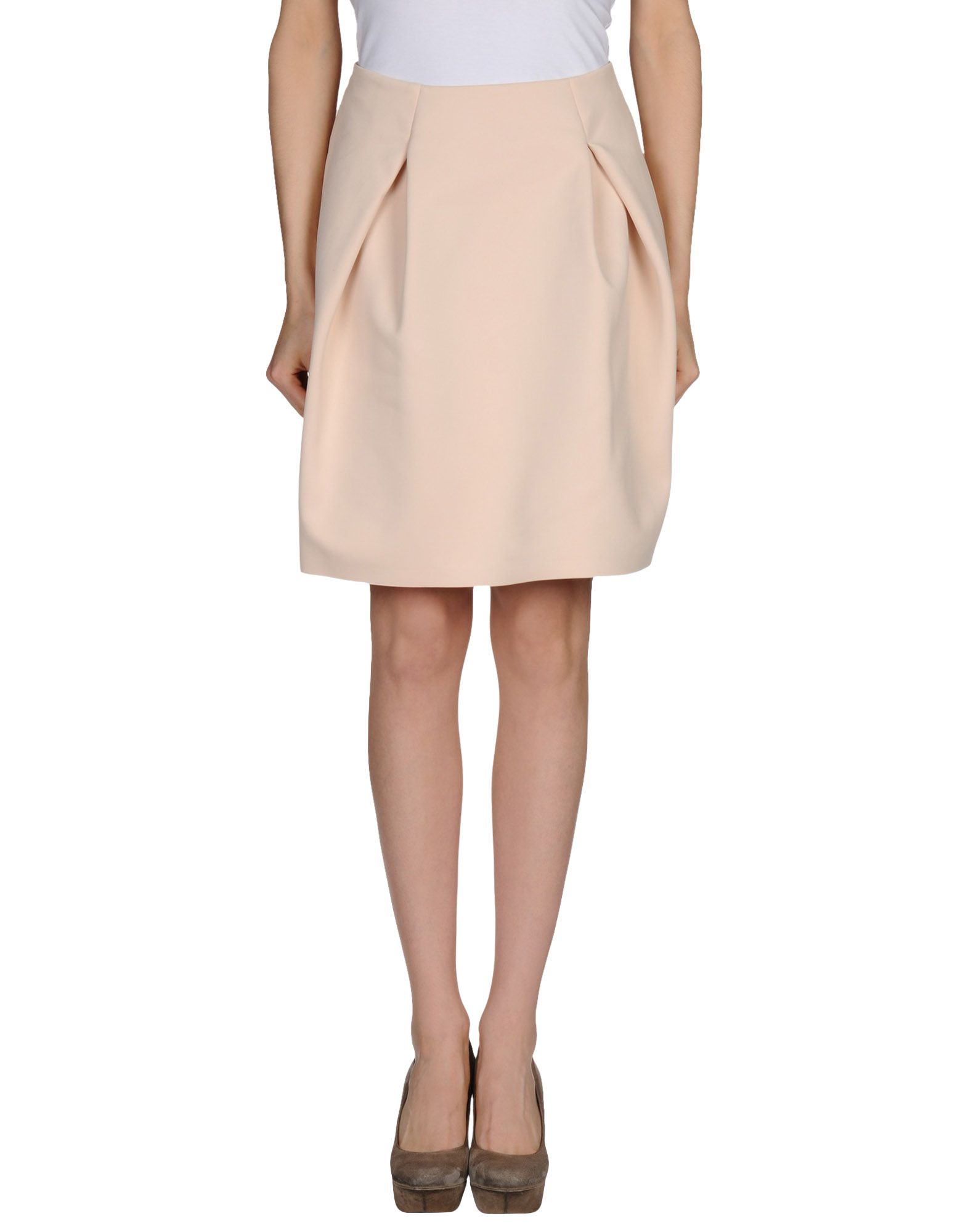 jil sander knee length skirt in beige save 56 lyst