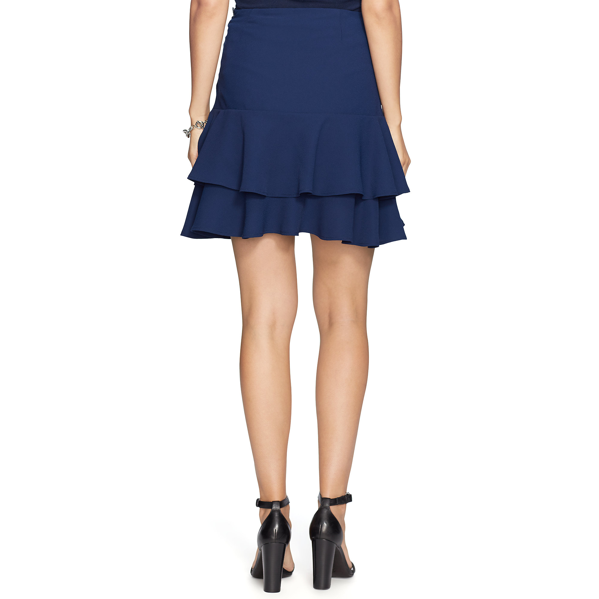 pink pony leather trim ruffled skirt in blue lyst