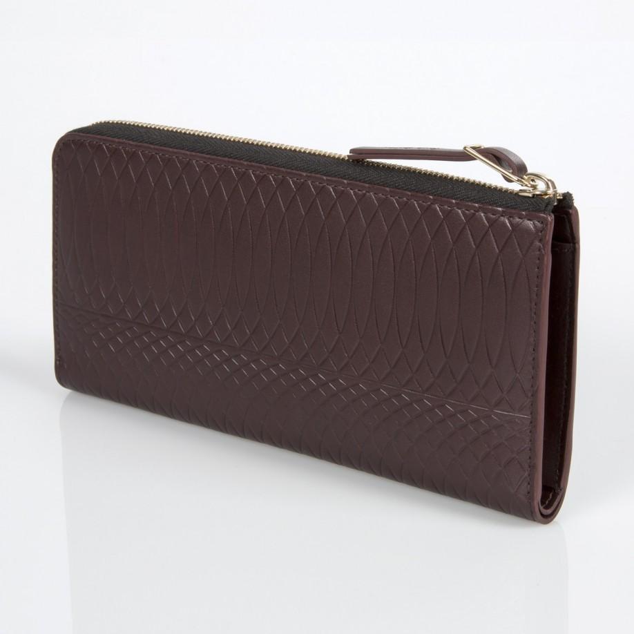 brown leather zip around purse