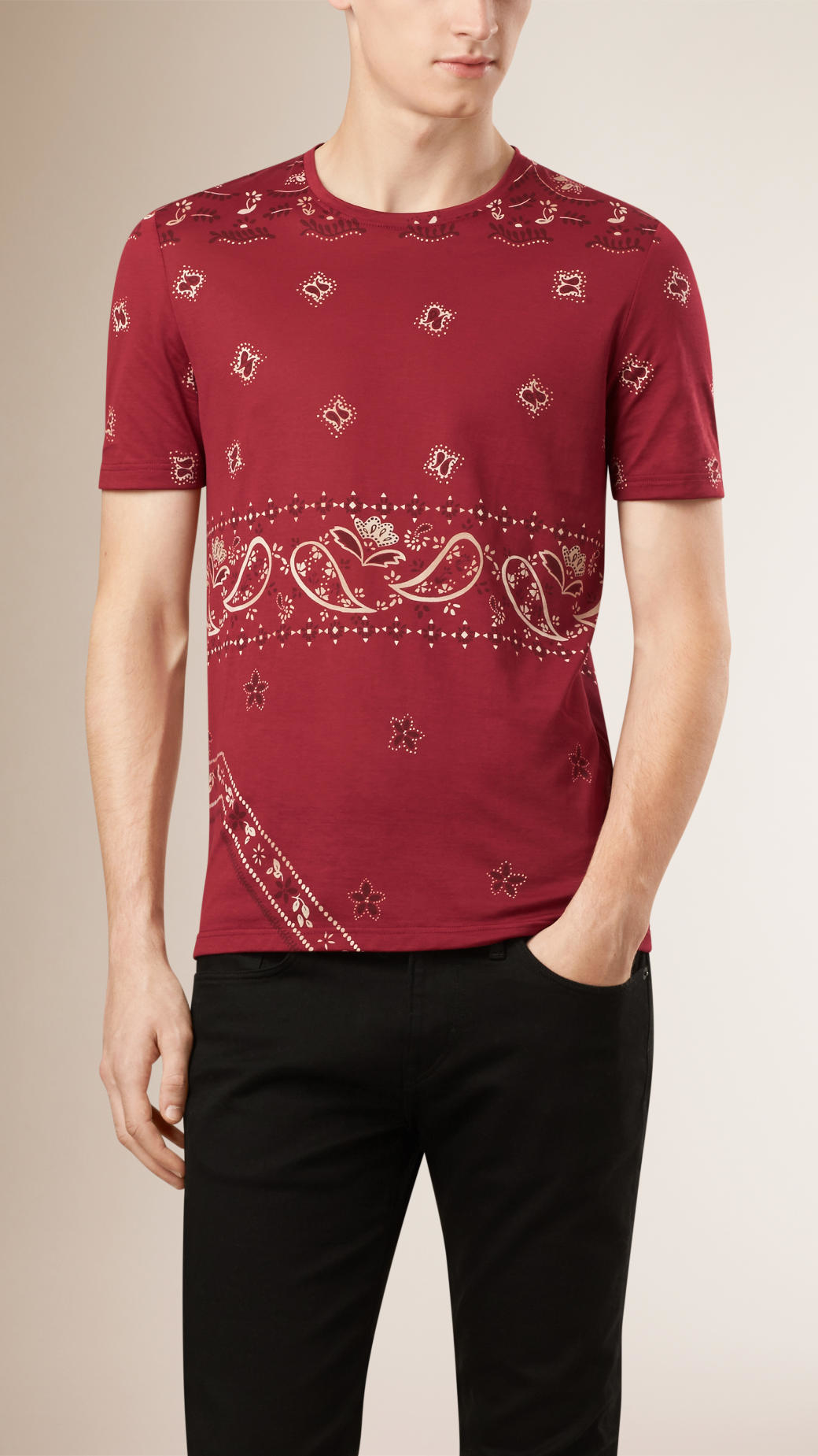 lyst burberry paisley print cotton t shirt in red for men. Black Bedroom Furniture Sets. Home Design Ideas