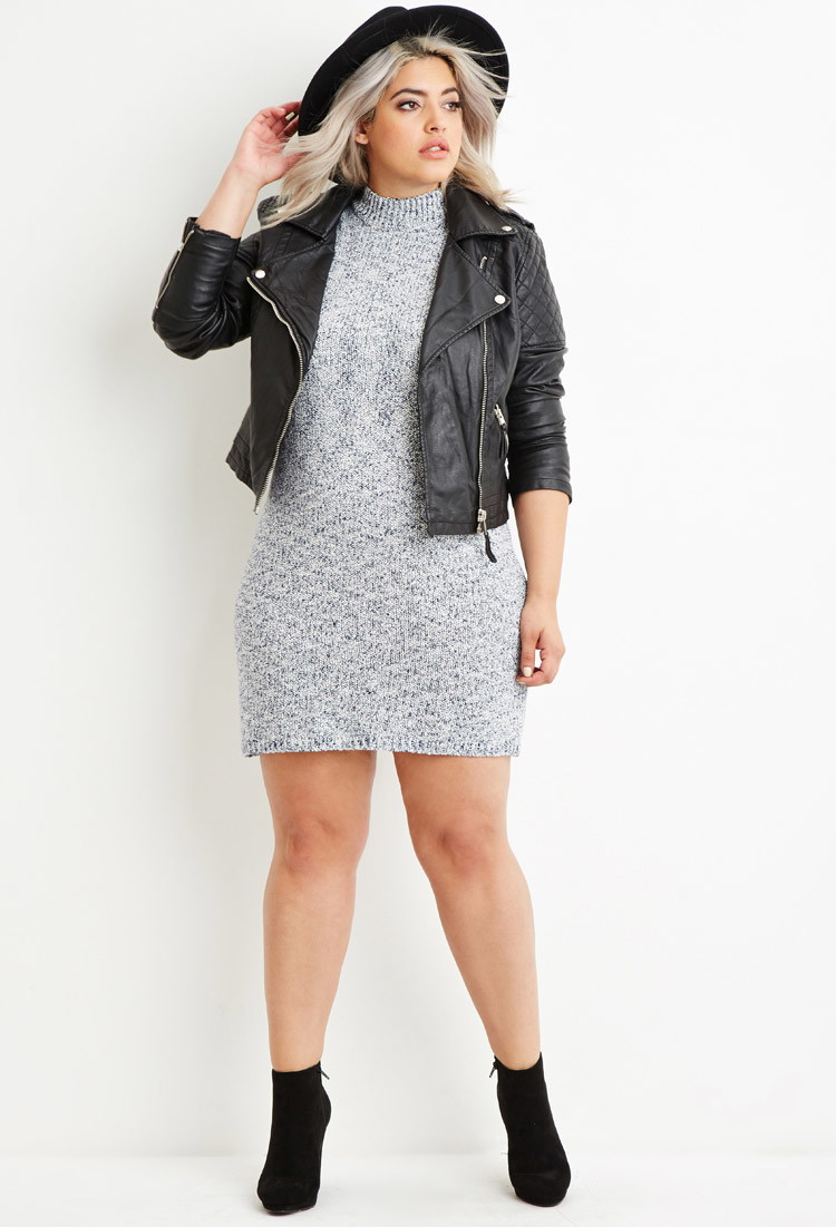 Forever 21 Plus Size Marled Knit Sweater Dress In Blue Lyst