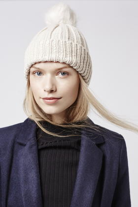 c14258f3e8b TOPSHOP Faux Fur Pom Beanie Hat in Natural - Lyst
