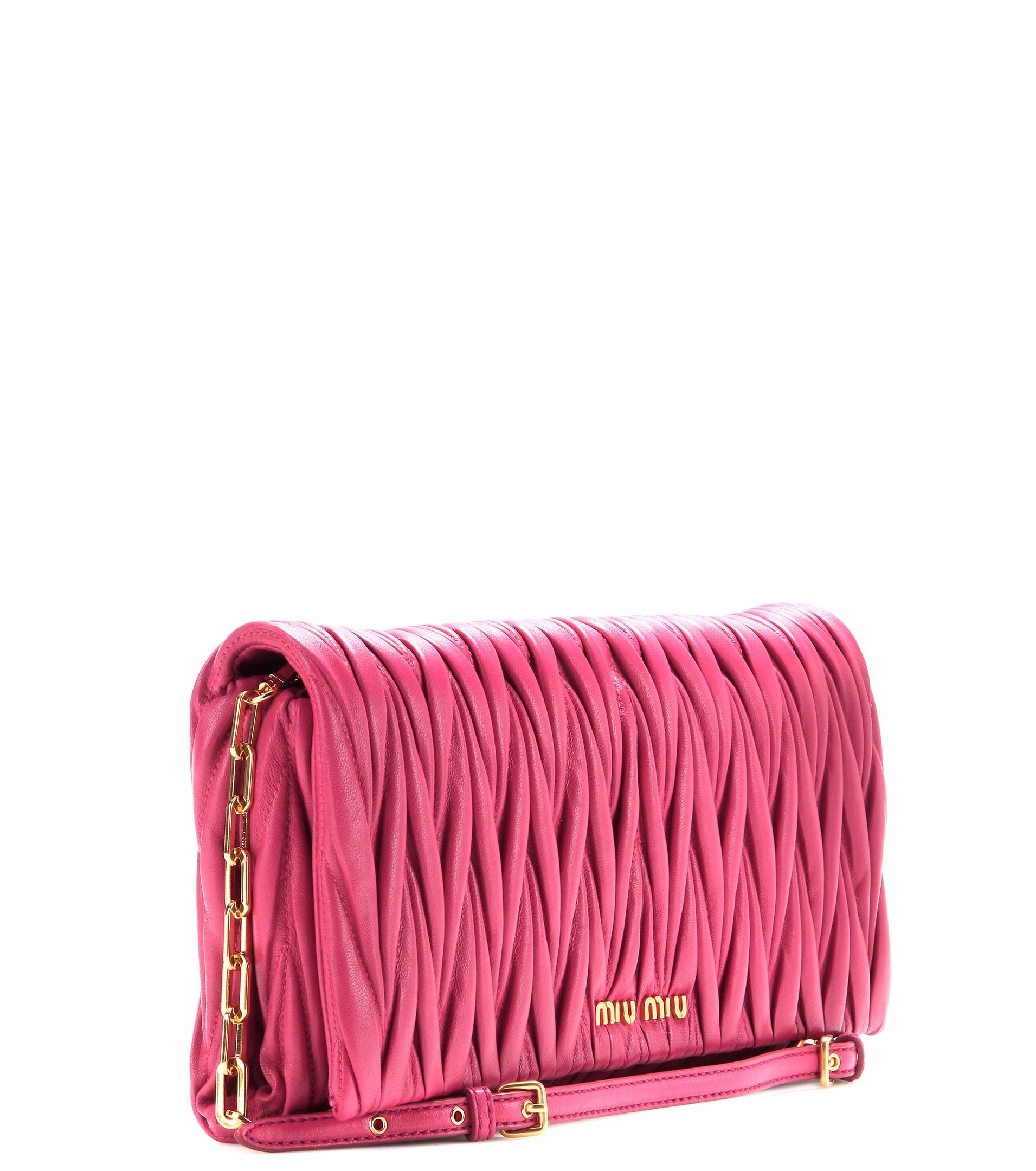 5705eb79816 Miu Miu Shoulder Pink Bag. Lyst - Miu Miu Matelassé ...