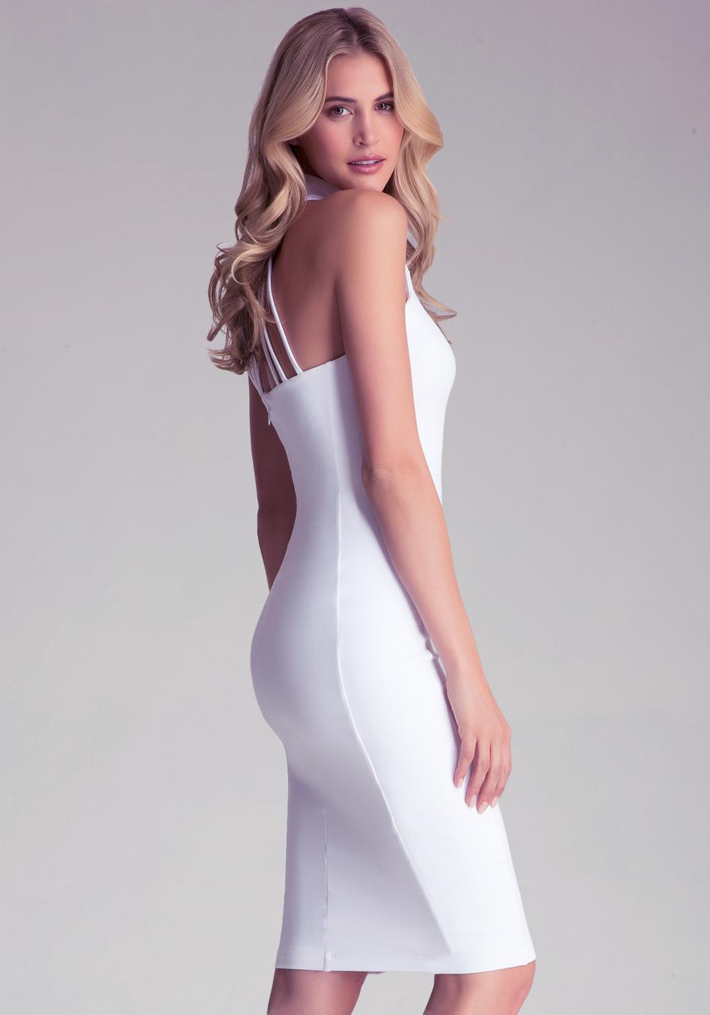 818d66b734ae Bebe Mock Neck Midi Dress in White - Lyst