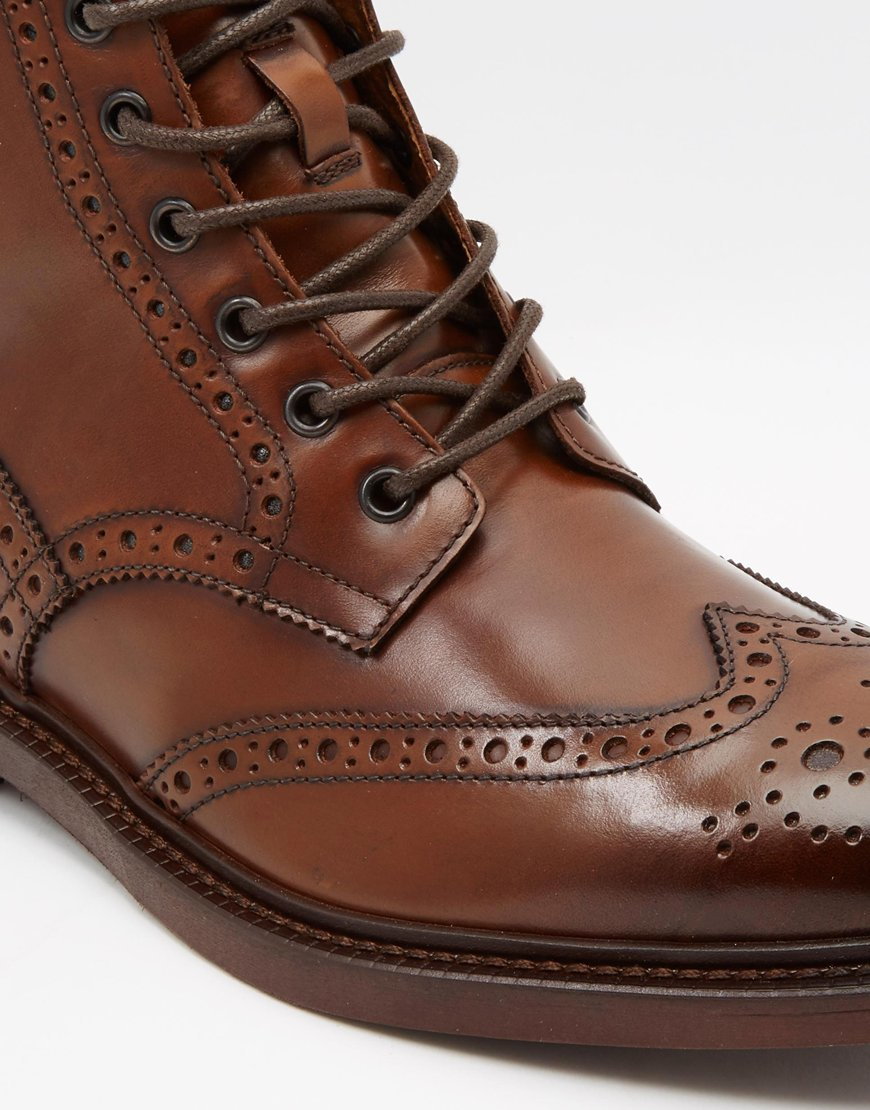 Asos Brogue Boots In Brown Leather With Chunky Sole In