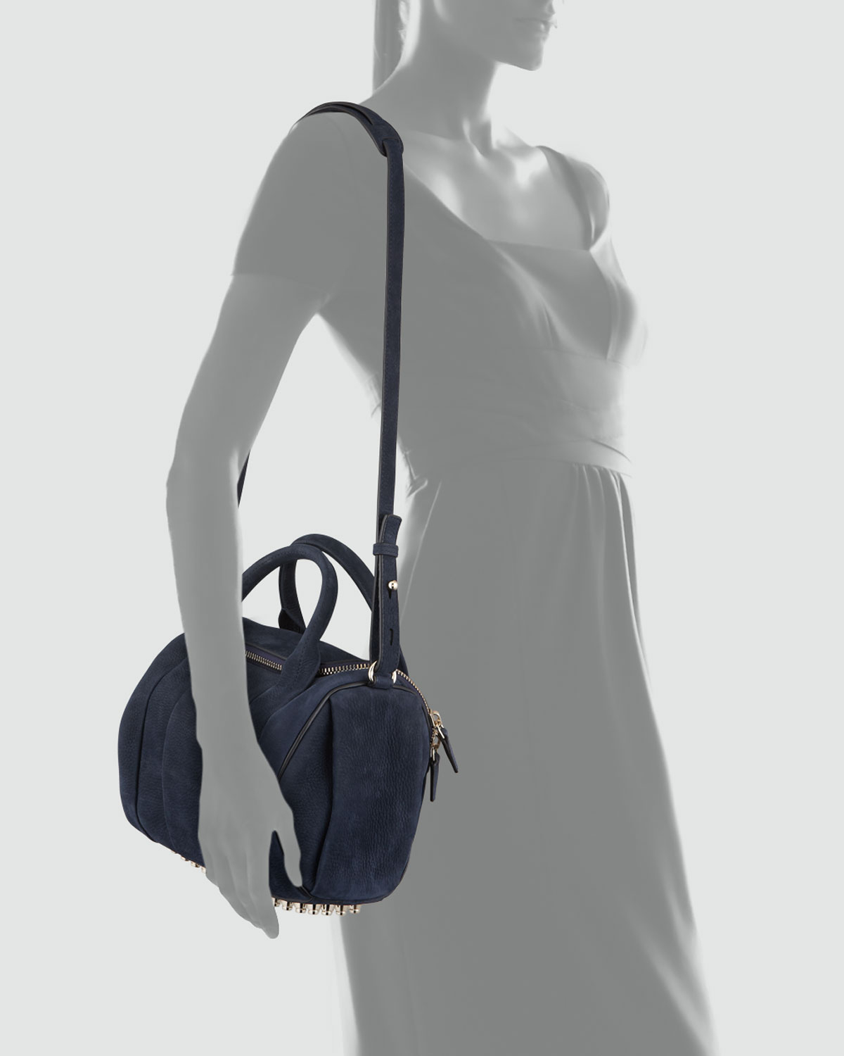 Alexander wang Rockie Small Crossbody Satchel Bag Navy in Blue | Lyst