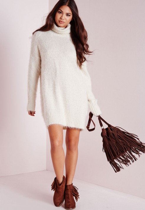 16a265484024 Lyst - Missguided Fluffy Roll Neck Jumper Dress Off White in White