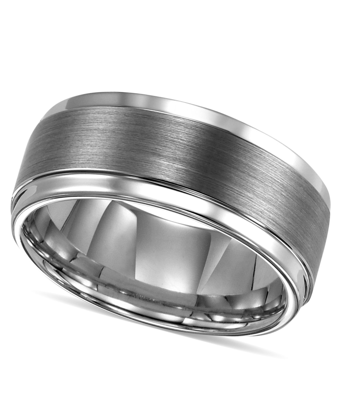 Triton Mens Ring Tungsten Carbide Comfort Fit Wedding Band 9mm Band Size 8 15 In Silver For