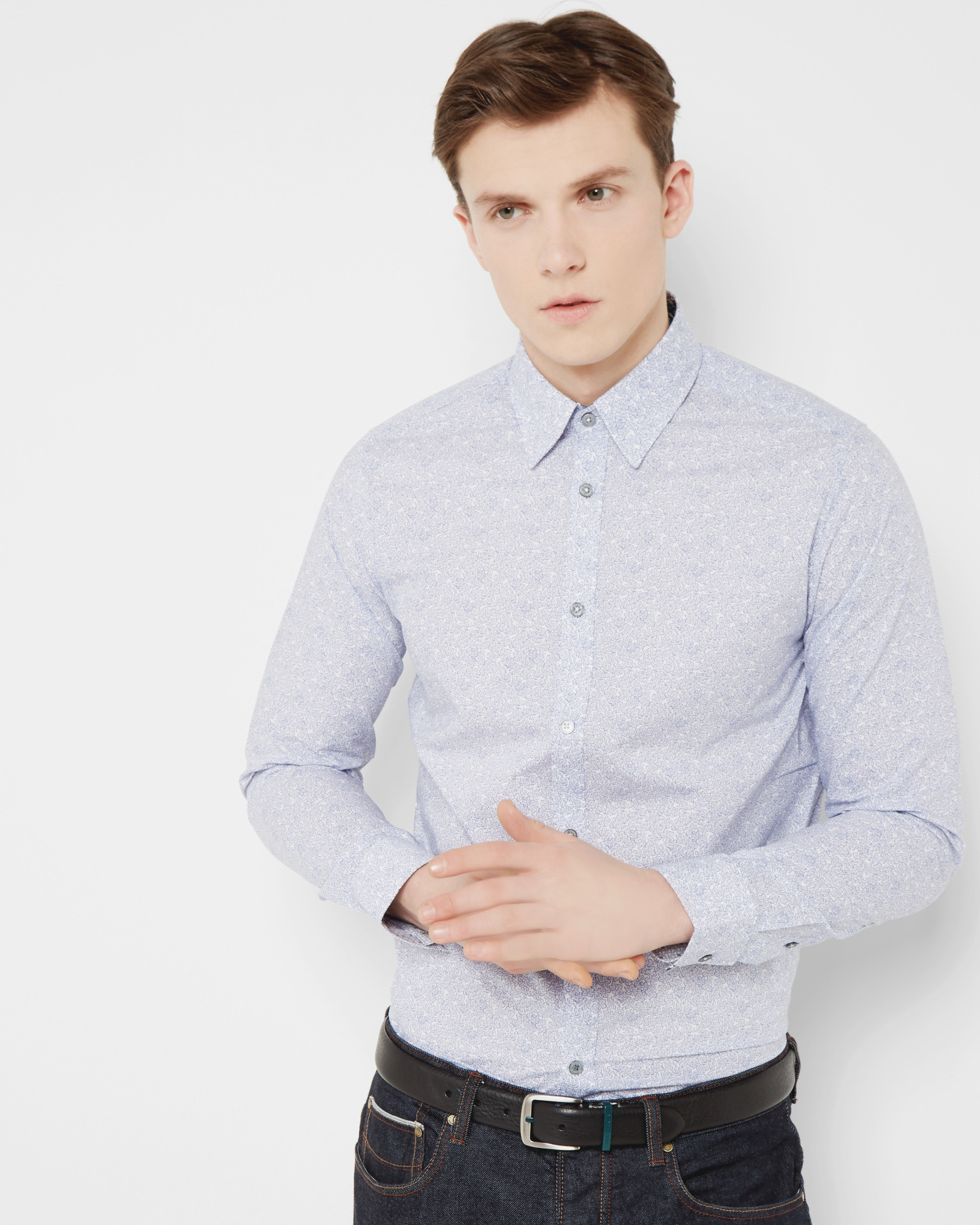 Lyst Ted Baker Tight Lines Floral Cotton Shirt In Pink For Men