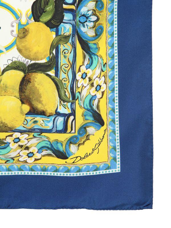 1f2a907e870e ... purchase lyst dolce gabbana lemon printed silk satin square scarf in  blue 2dbb4 20352