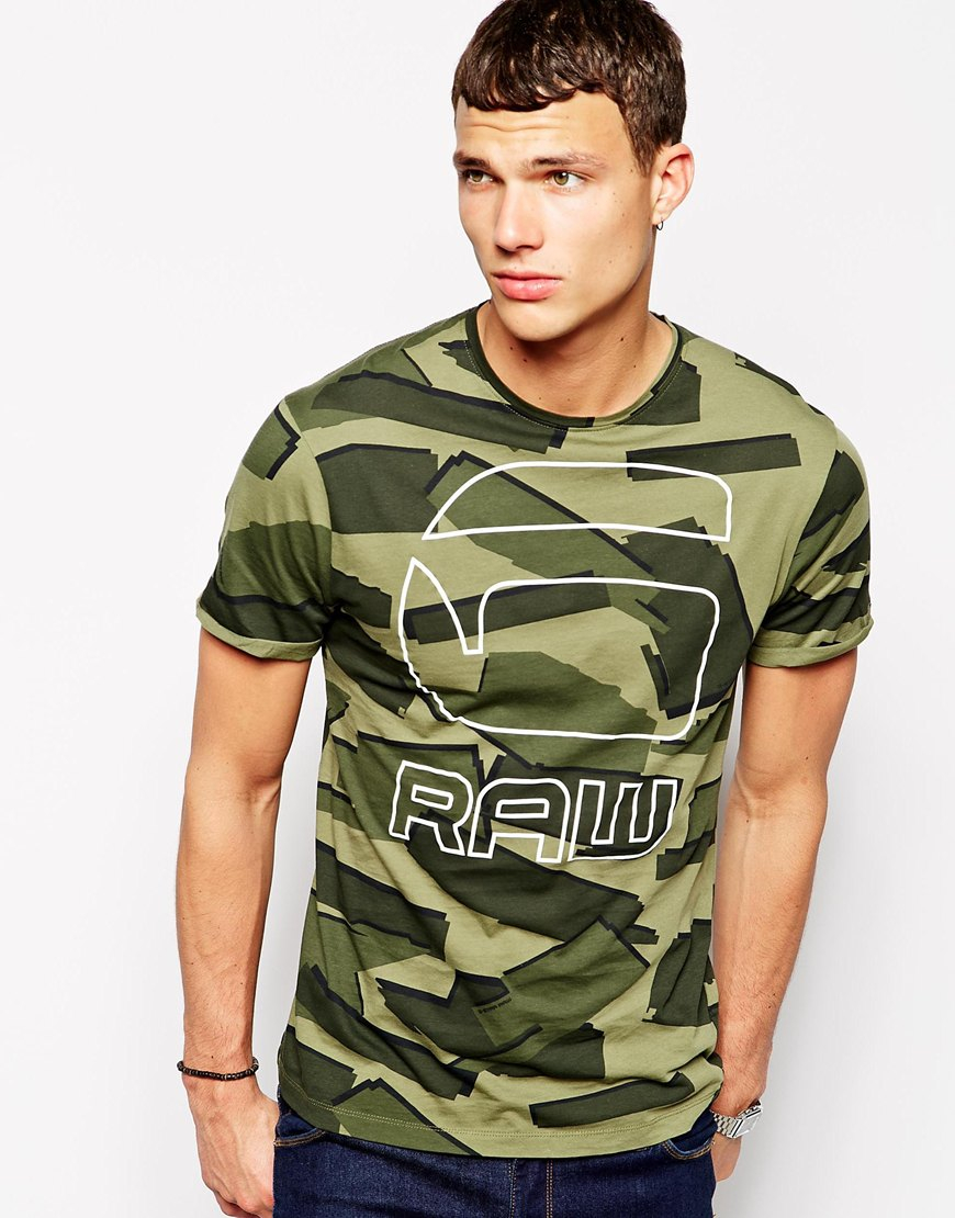 g star raw g star t shirt mavinious slim fit geometric camo logo in green for men lyst. Black Bedroom Furniture Sets. Home Design Ideas