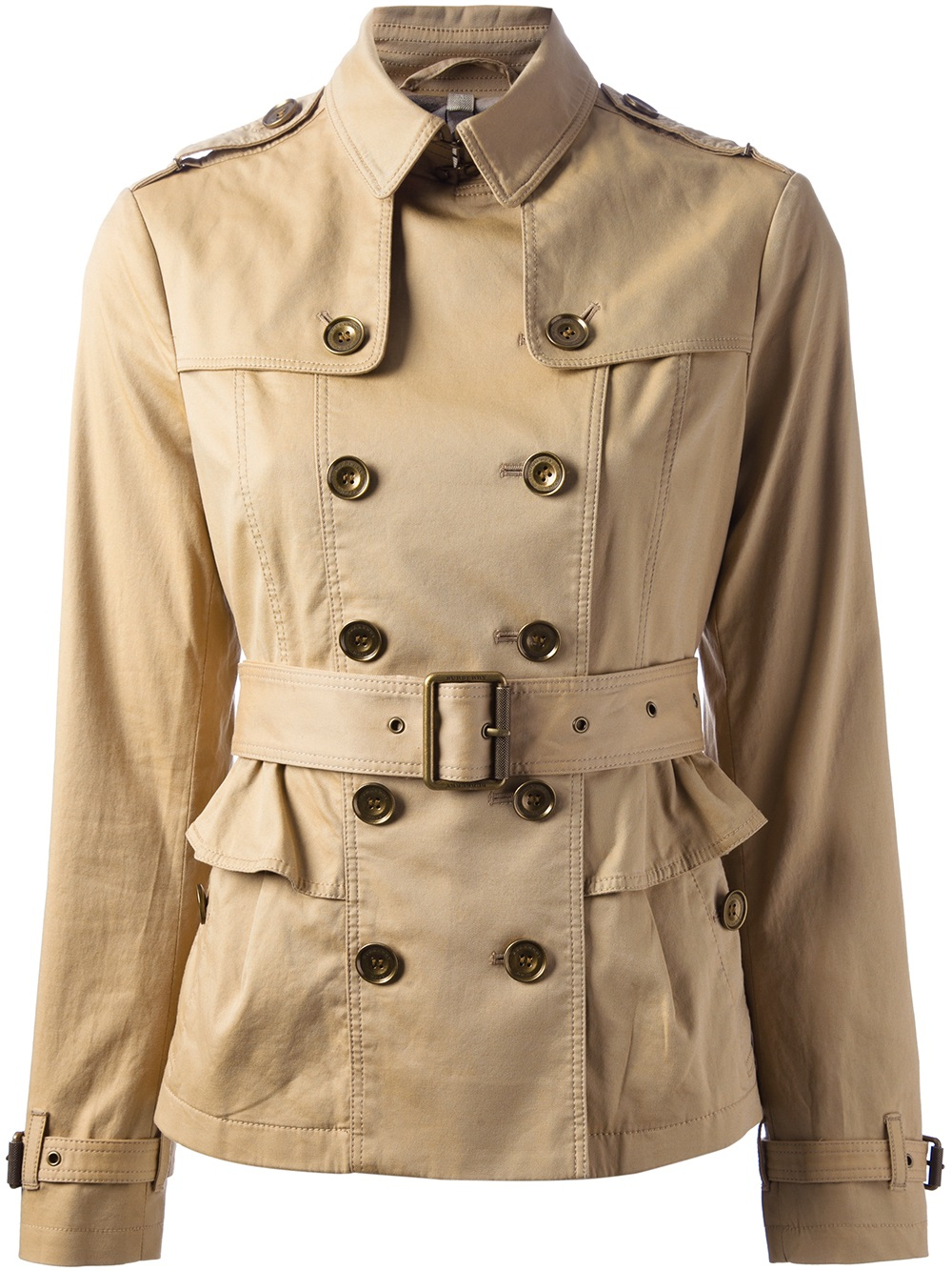 Burberry Brit Short Faille Trench Coat In Brown