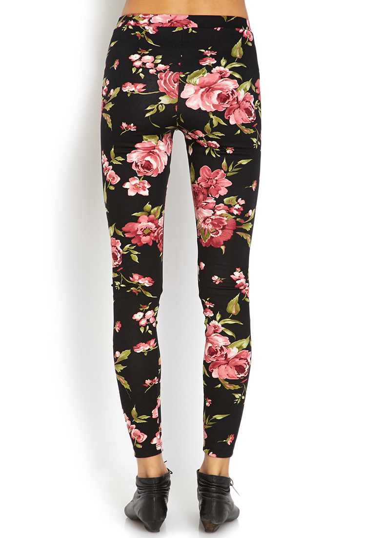 Lyst - Forever 21 Sweet Floral Leggings in Black