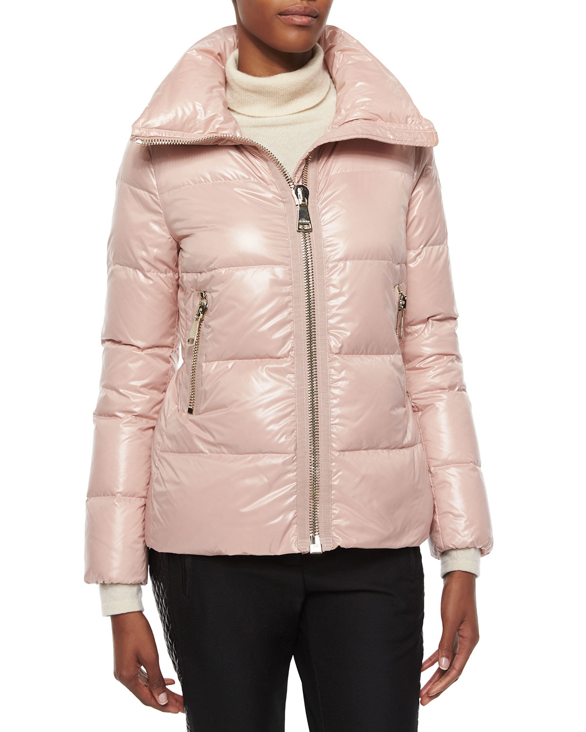Lyst Moncler Joux High Neck Puffer Jacket In Pink