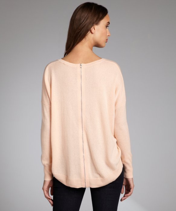 Autumn cashmere Peach Cashmere Zip Back Hilow Crewneck Sweater in ...