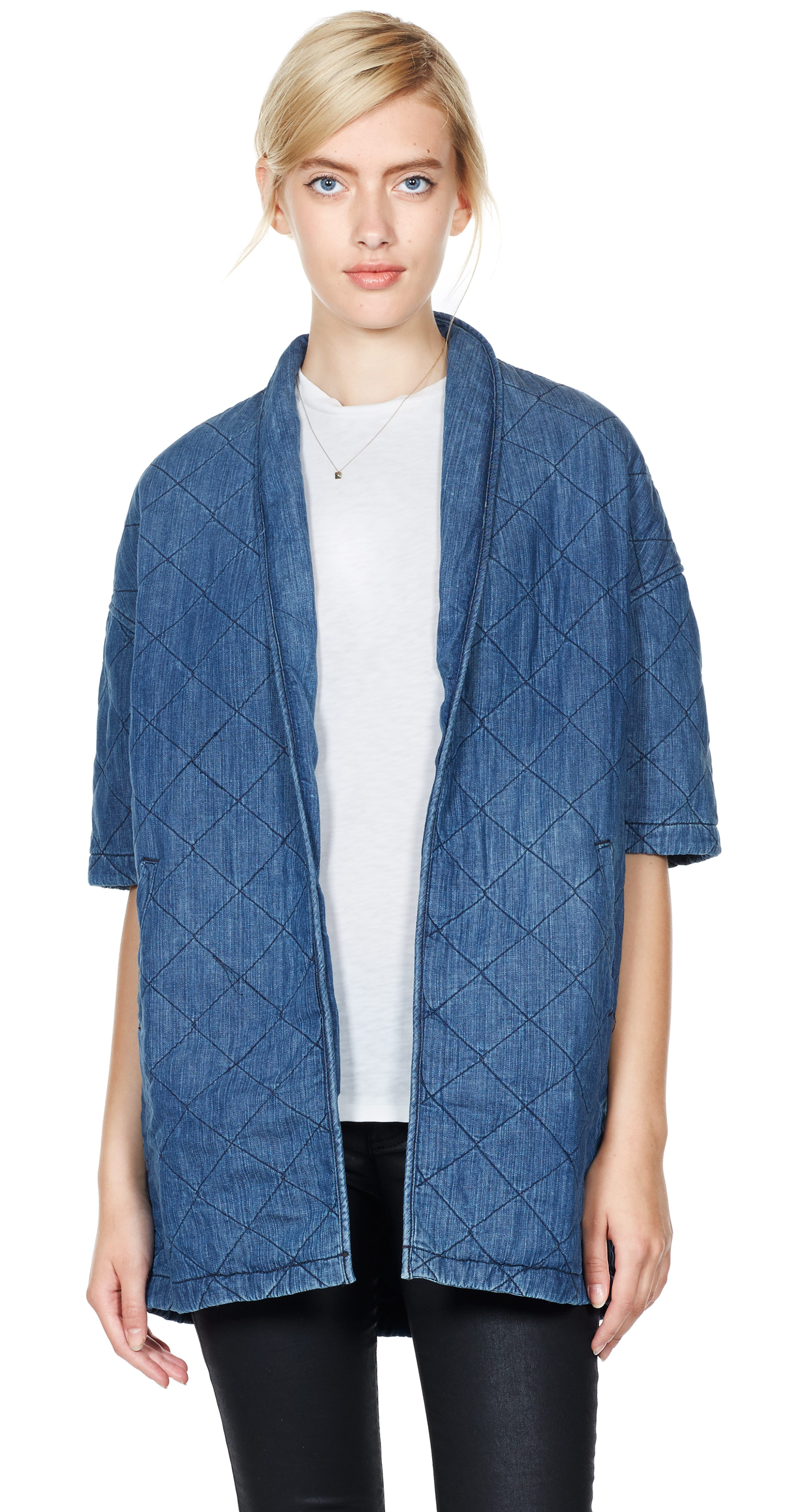 Current Elliott The Quilted Car Coat In Blue Palmer Lyst