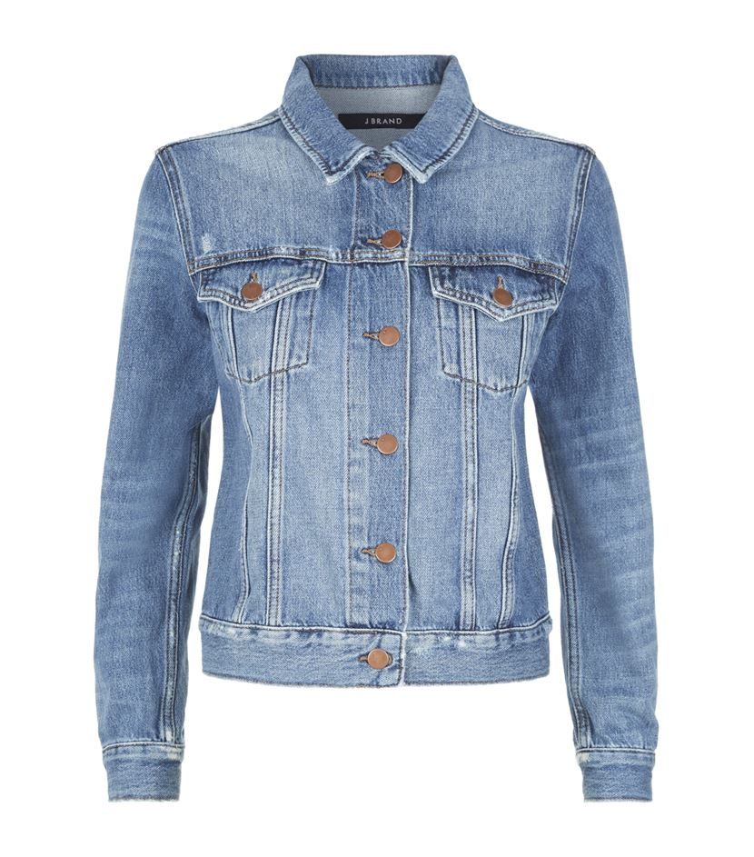 Lyst J Brand Gene Shrunken Denim Jacket In Blue
