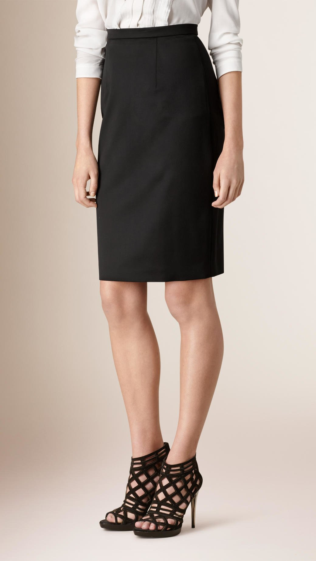 burberry stretch wool tailored pencil skirt black