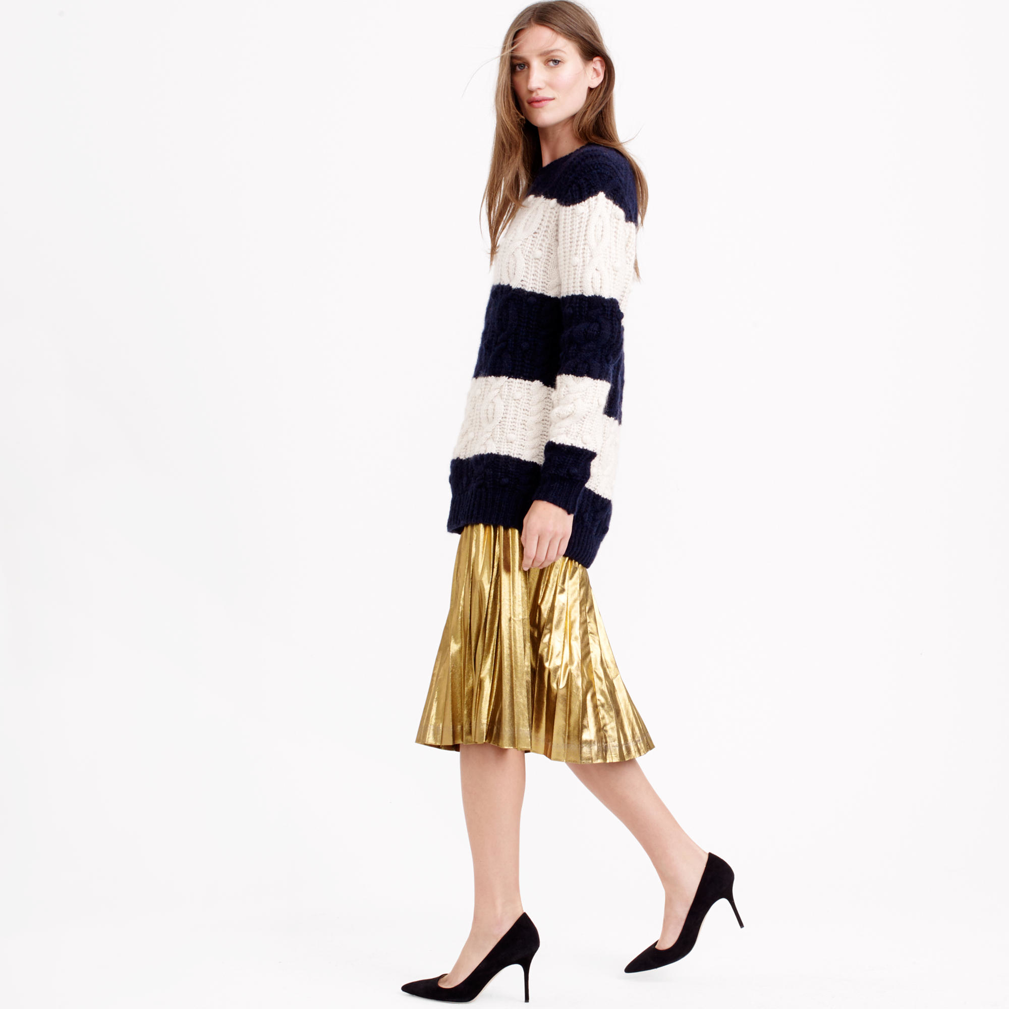 J.crew Pleated Midi Skirt In Metallic in Metallic | Lyst