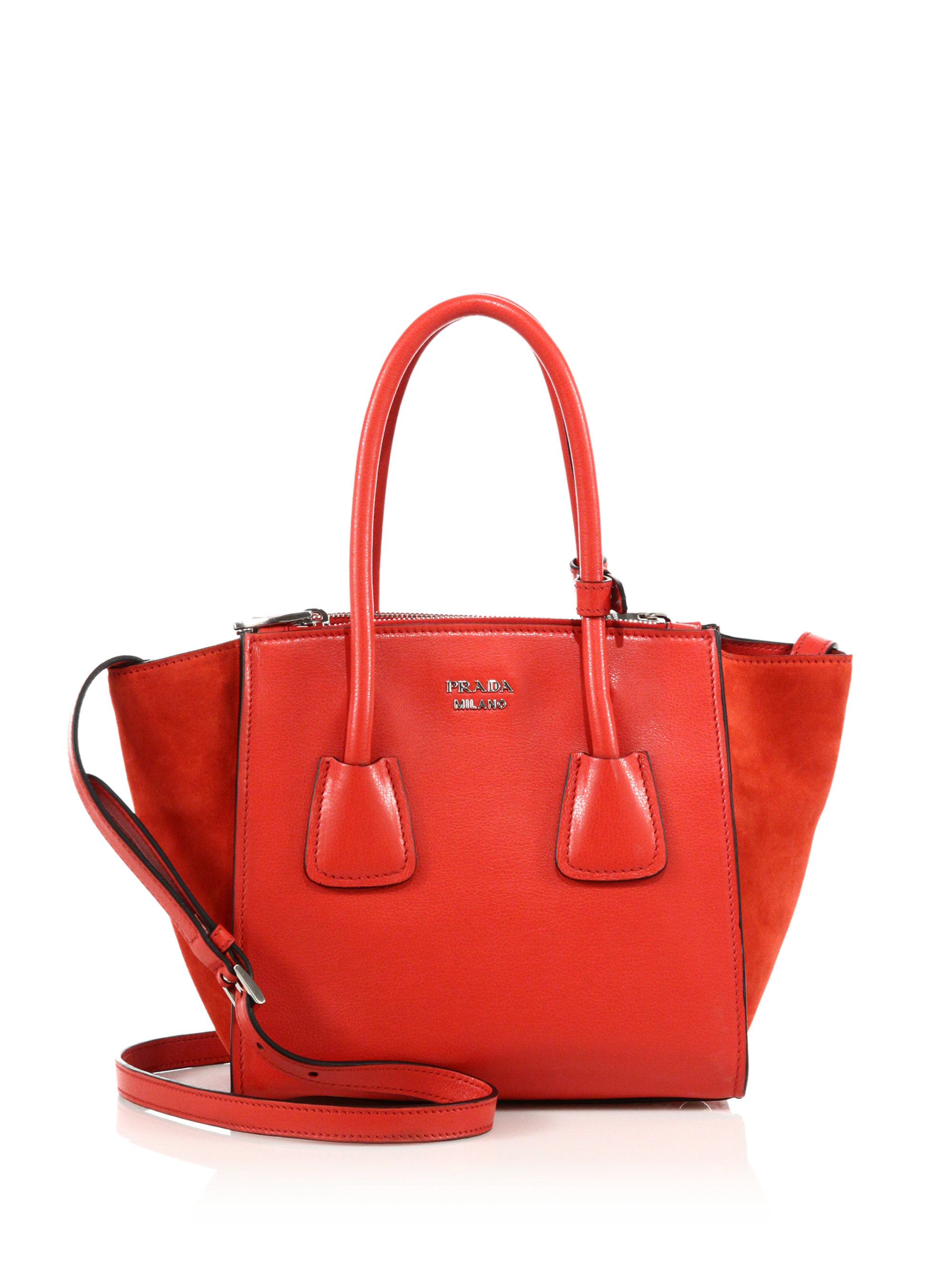 b8b9ed67dc1a ... new style lyst prada glace calf suede mini twin pocket tote in red  71149 d703c