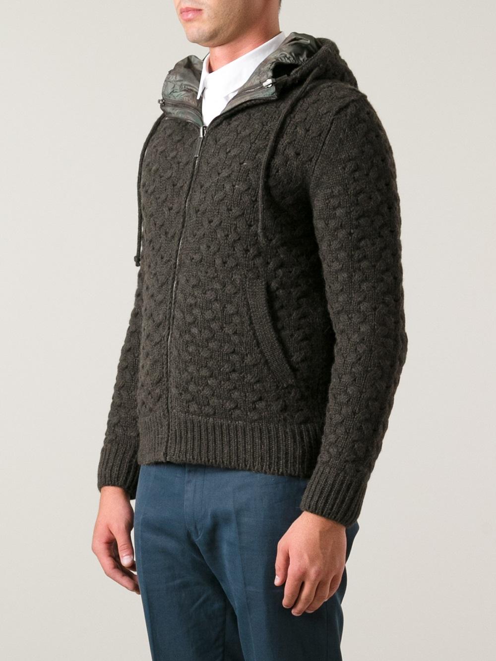b1913de60 Lyst - Esemplare Basket Weave Hooded Jacket in Gray for Men