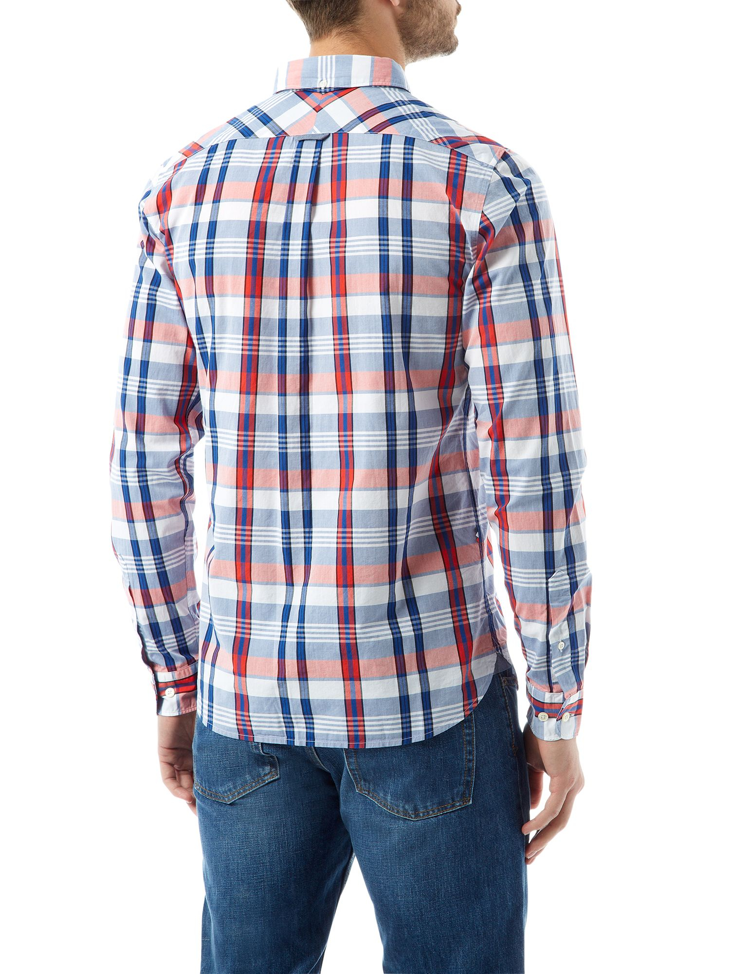 Lyst lacoste check slim fit long sleeve button down for Athletic fit button down shirts