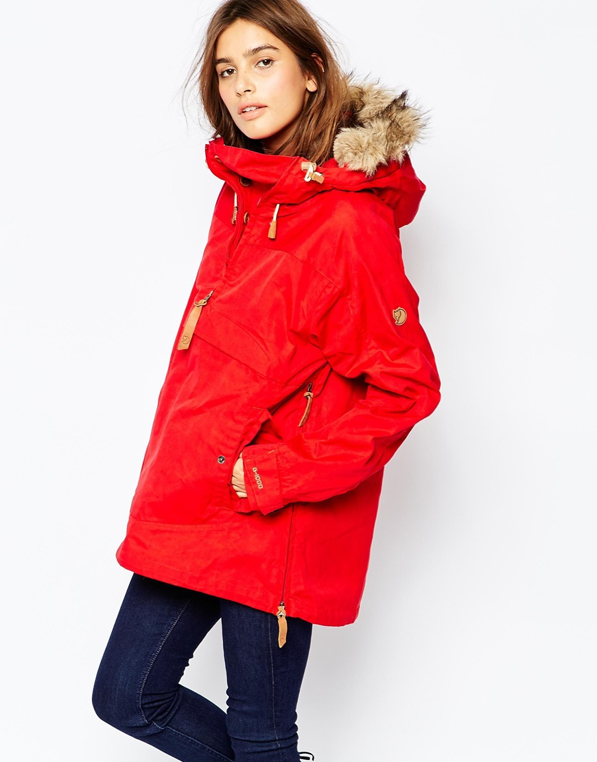 Fjallraven Faux Fur Trimmed Lightweight Parka in Red | Lyst