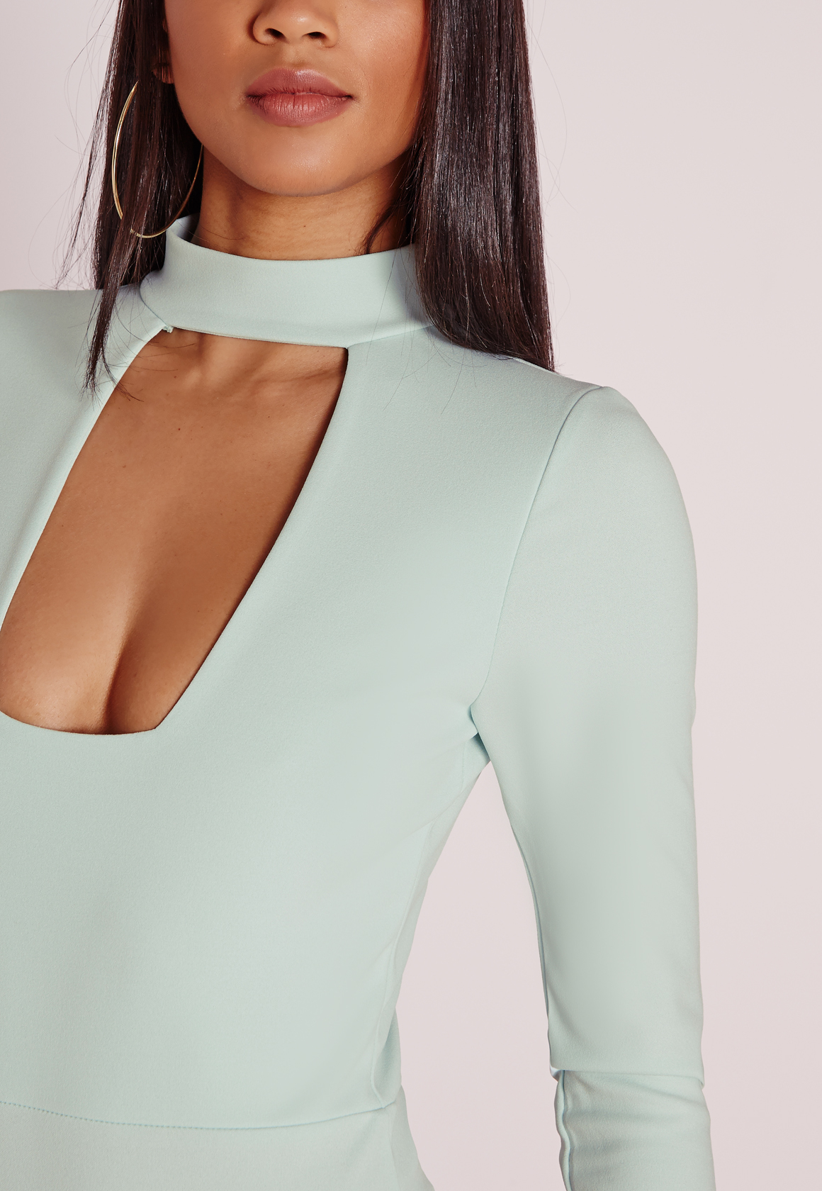 Missguided Square Neck Plunge Choker Bodysuit Mint in Blue ...