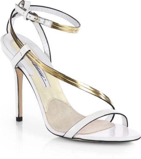 Brian Atwood Cecile Leather Chainstrap Sandals in White - Lyst