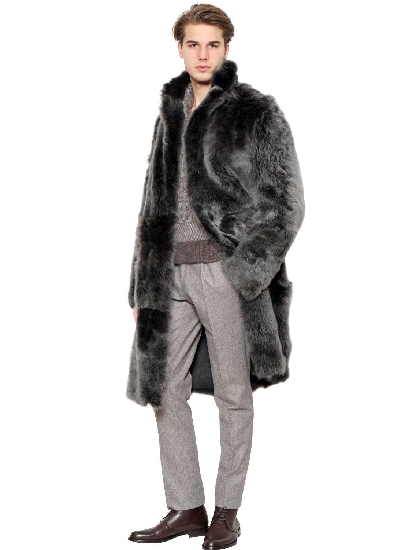 Lyst Canali Reversible Shearling Coat In Black For Men
