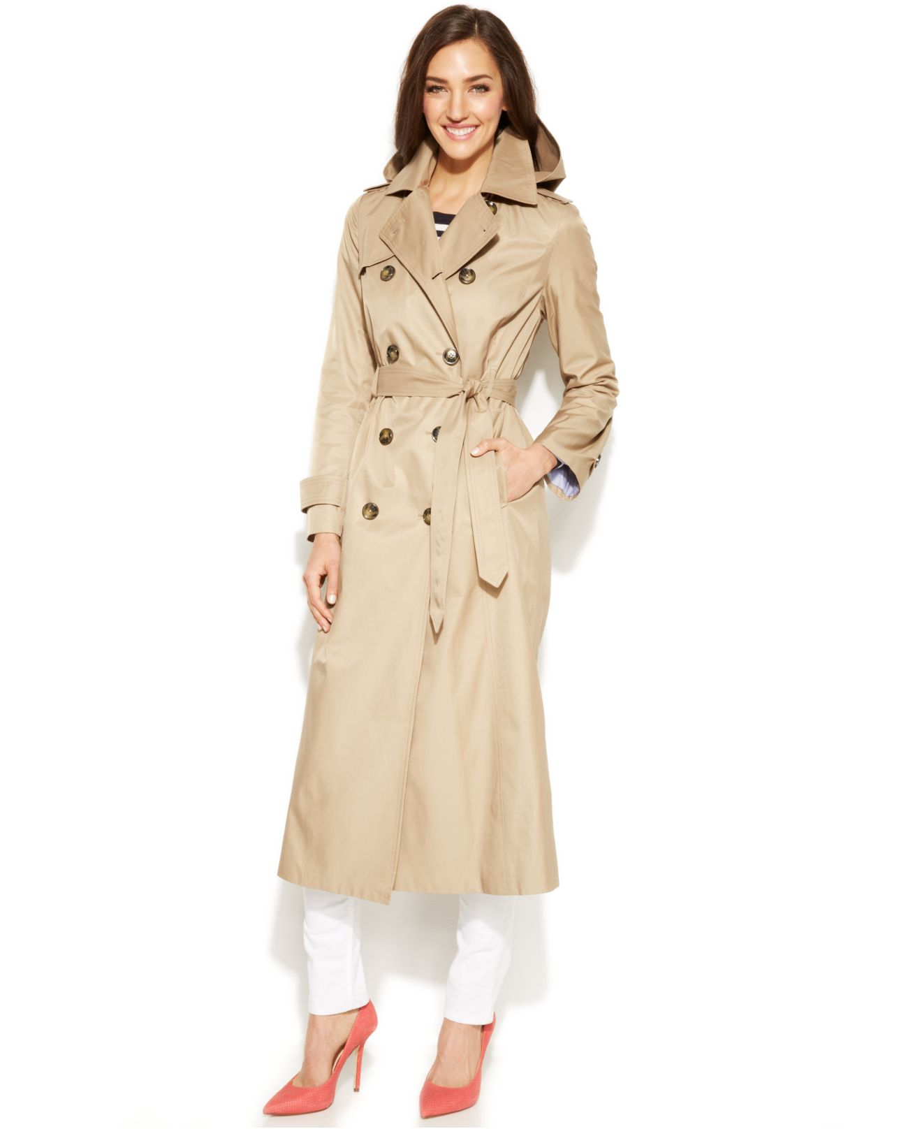 fa2a4afd10ddf Lyst - London Fog Hooded Double-Breasted Maxi Trench Coat in Natural