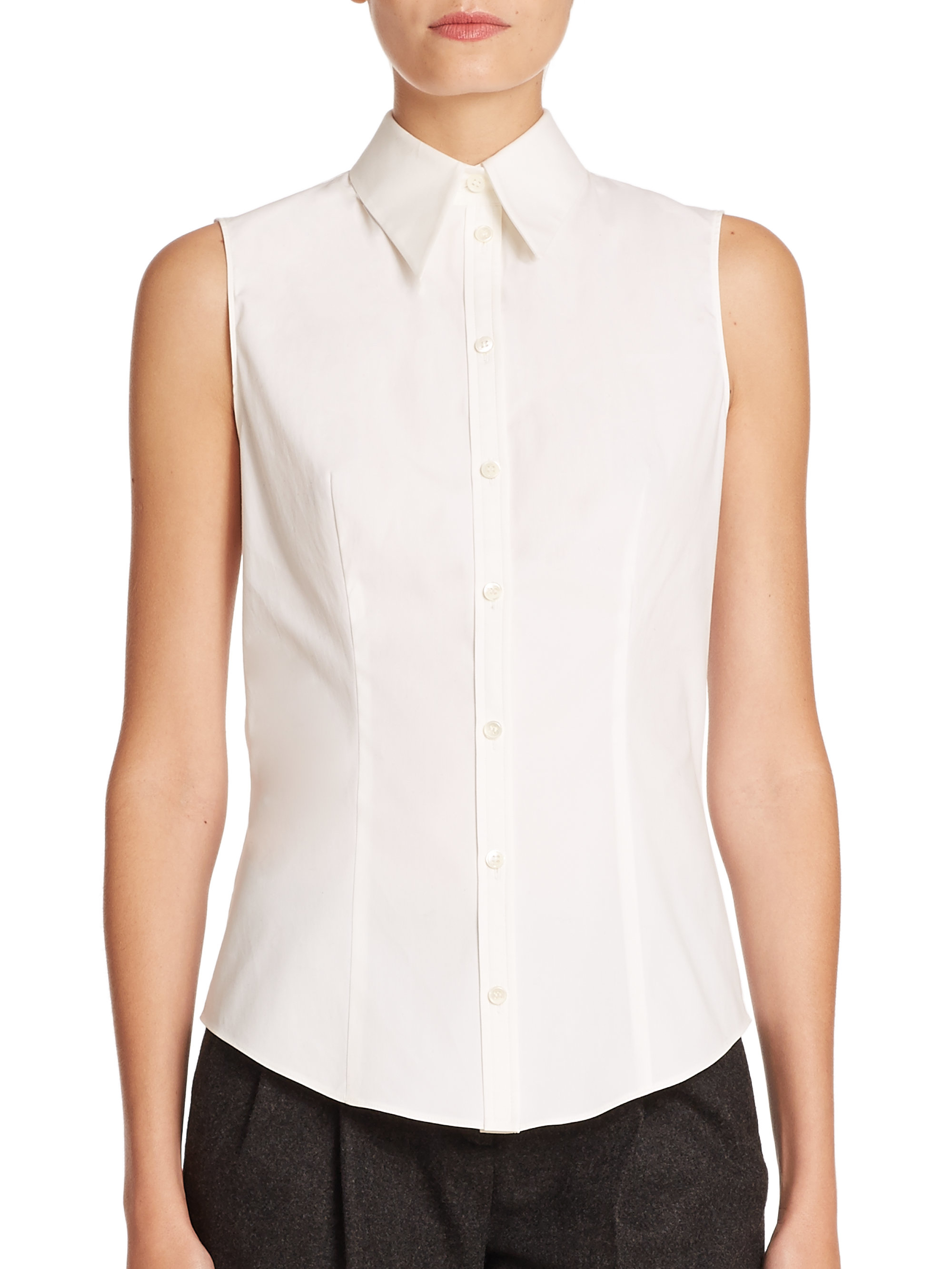 lyst michael kors stretch cotton poplin shirt in white. Black Bedroom Furniture Sets. Home Design Ideas