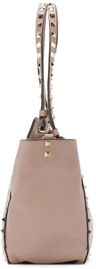 Lyst - Valentino Powder Pink Small Rockstud Tote in Natural d6bef8bca41dc