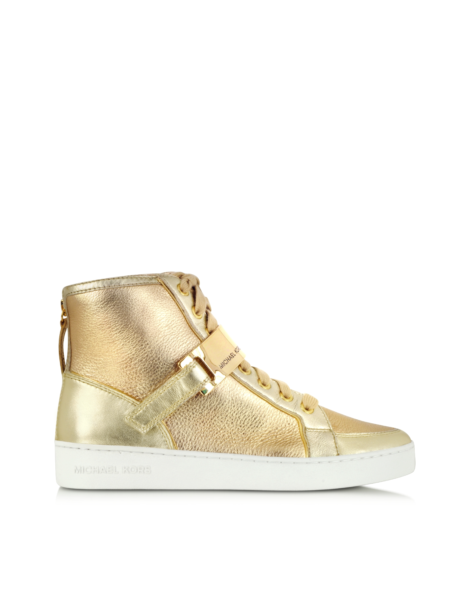 michael kors helen golden metallic high top sneaker in. Black Bedroom Furniture Sets. Home Design Ideas