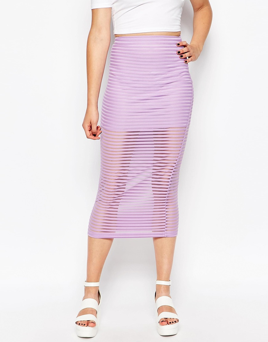 motel bobby midi skirt in lilac stripe net in purple