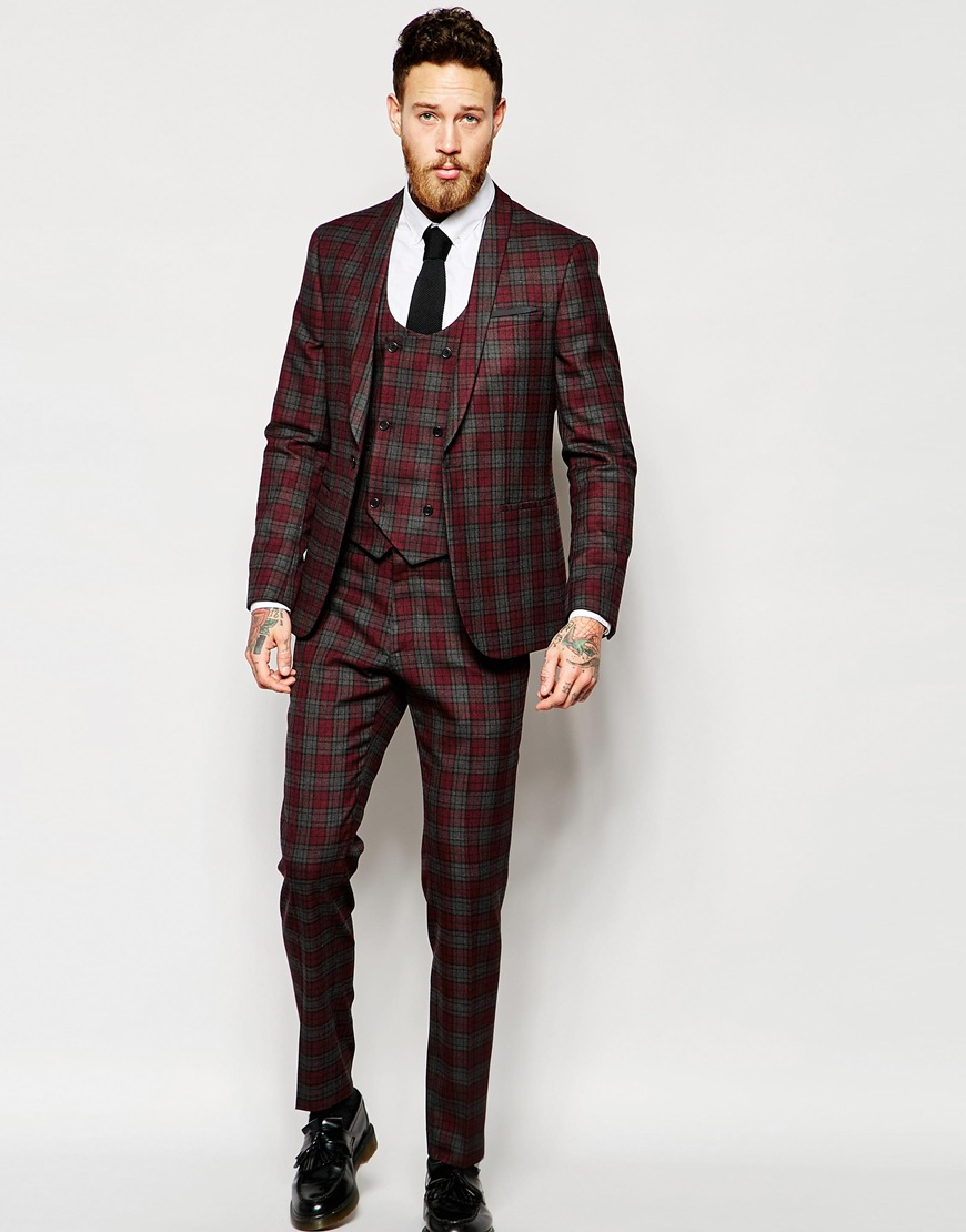 Asos Skinny Suit Jacket In Tartan Check in Gray for Men | Lyst