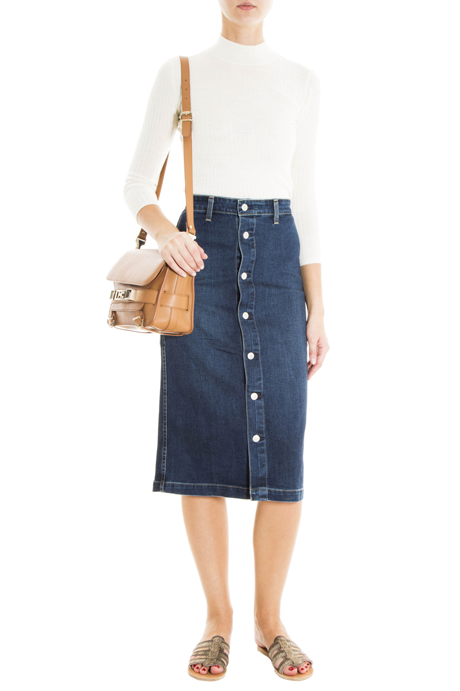 Ag jeans Denim Button Up Skirt in Blue | Lyst