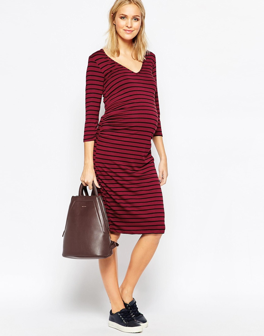 Maternity long sleeve midi dress