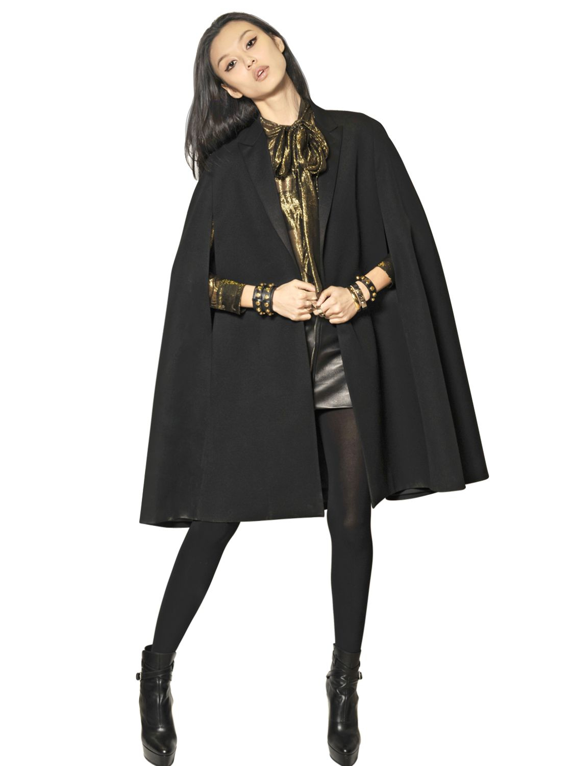 Saint laurent Virgin Canvas Wool Cape Coat in Black | Lyst