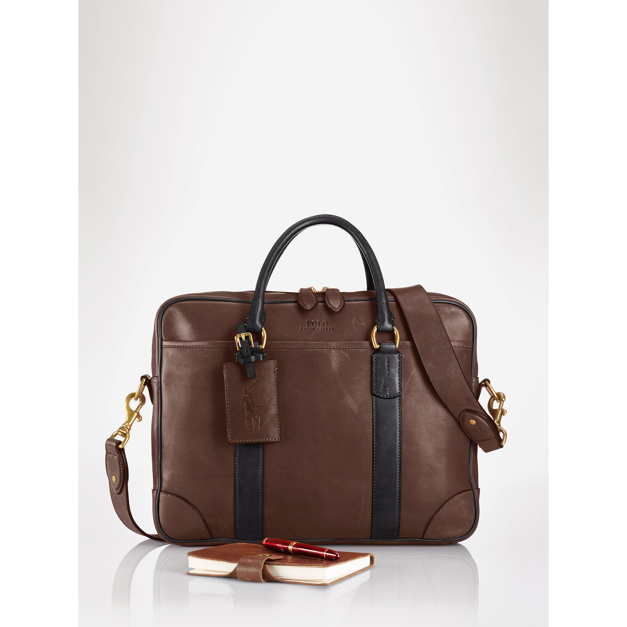 03051393f6 Lyst - Polo Ralph Lauren Leather Commuter Bag in Brown for Men