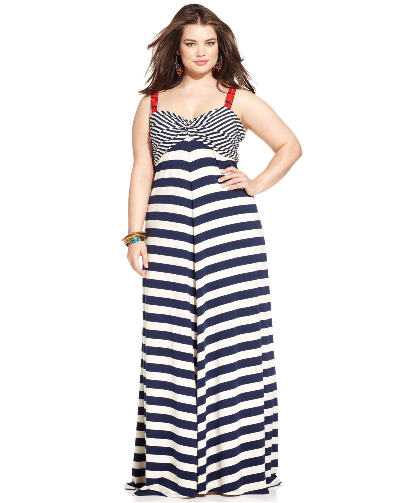 Lyst - Lucky brand Lucky Brand Plus Size Striped Empire Maxi Dress ...
