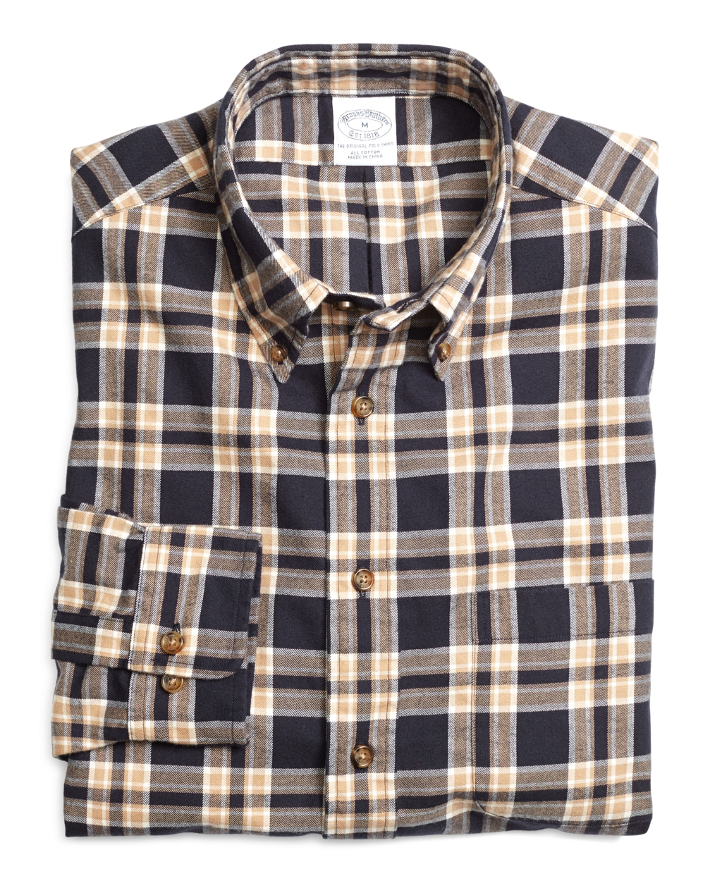Brooks Brothers Regular Fit Navy Plaid Flannel Sport Shirt
