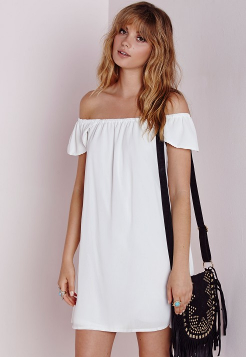 83f7a6710dce Missguided Chiffon Bardot Cap Sleeve Shift Dress White in White - Lyst