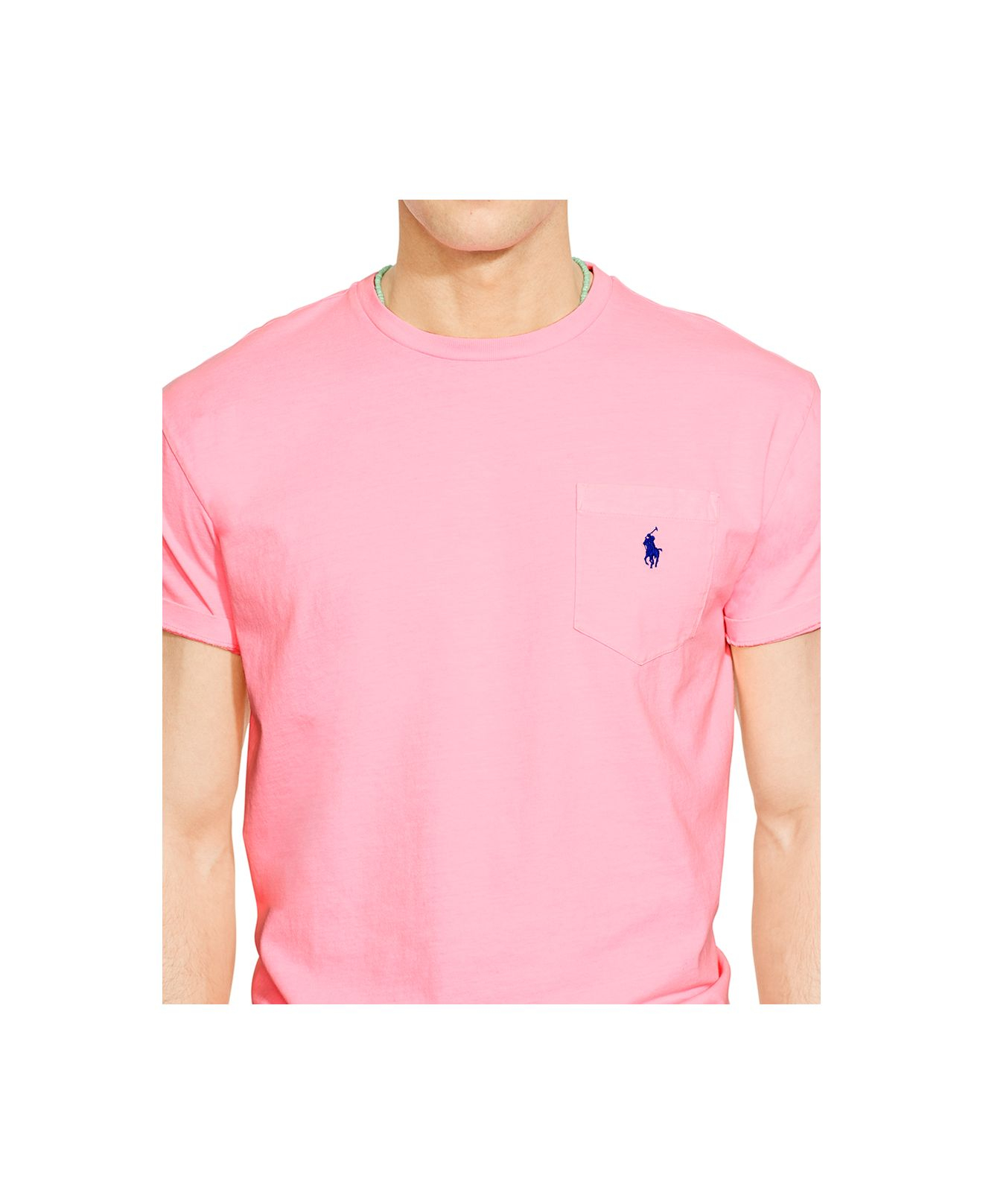5e2d4e540eed7 ... low price lyst polo ralph lauren classic fit neon jersey pocket crew  neck t 5009d 6496f