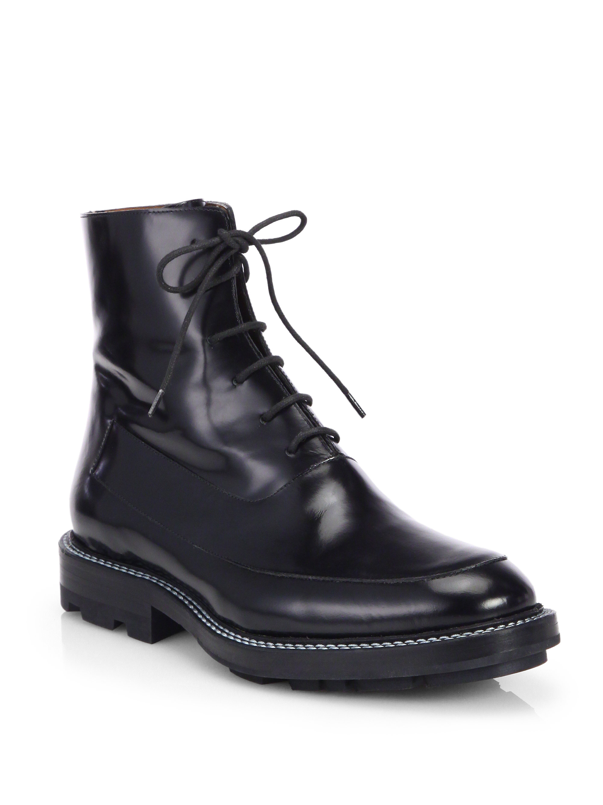 Lyst Jil Sander Polished Leather Lace Up Ankle Boots In