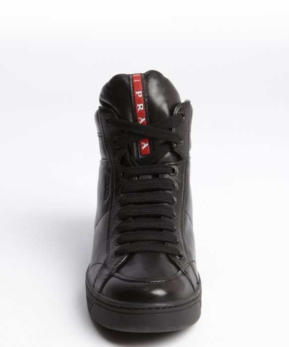 66fa79717f2e ... ireland lyst prada black leather lace up high top sneakers in black for  men 12e05 2adab