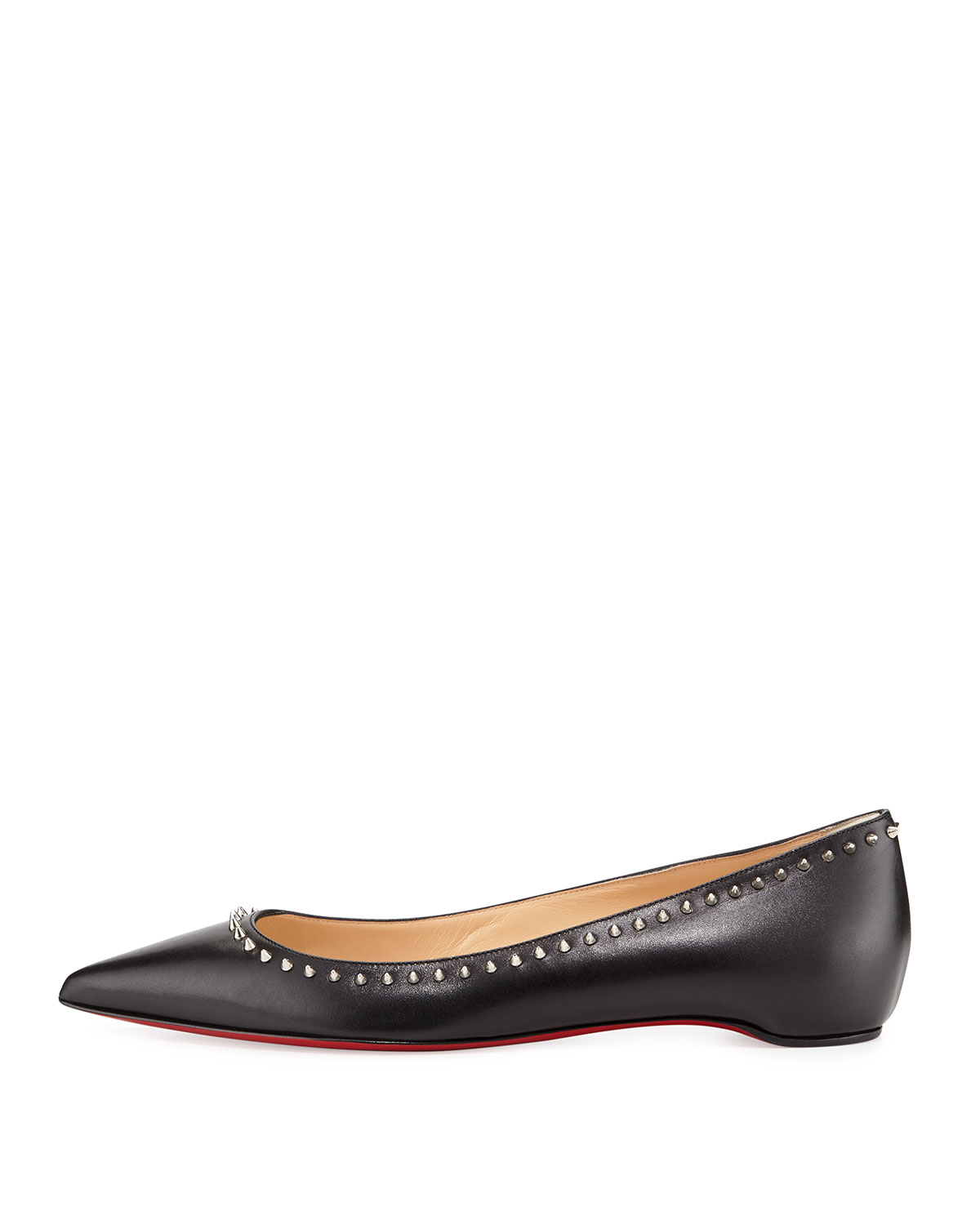 shoes replica usa - Christian louboutin Anjalina Studded Leather Ballet Flats in Black ...