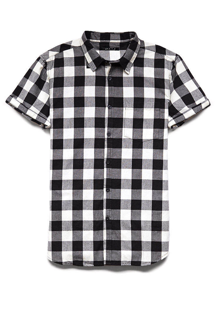 Forever 21 Buffalo Plaid Short Sleeve Shirt in Black for Men | Lyst