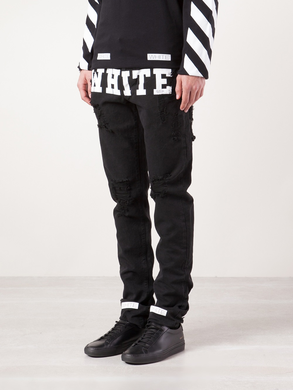 Off-white c/o virgil abloh Distressed Jeans in Black for Men | Lyst