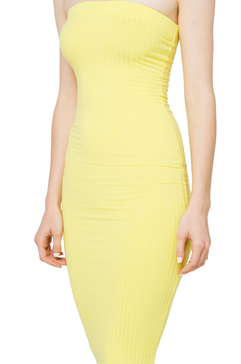 AKIRA Strapless Ribbed Bodycon Midi Dress